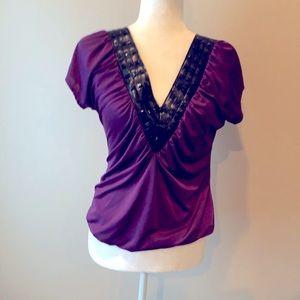 Purple Satin V neck Top